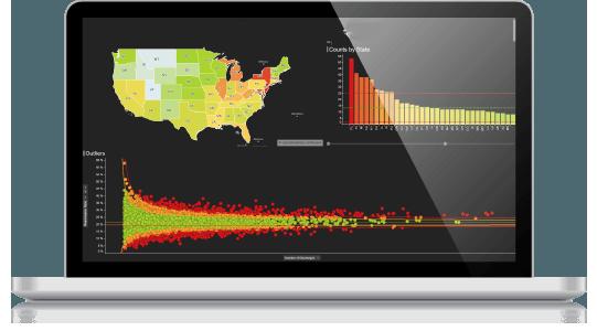 пример визуализации данных на темном фоне с двумя активными цветами