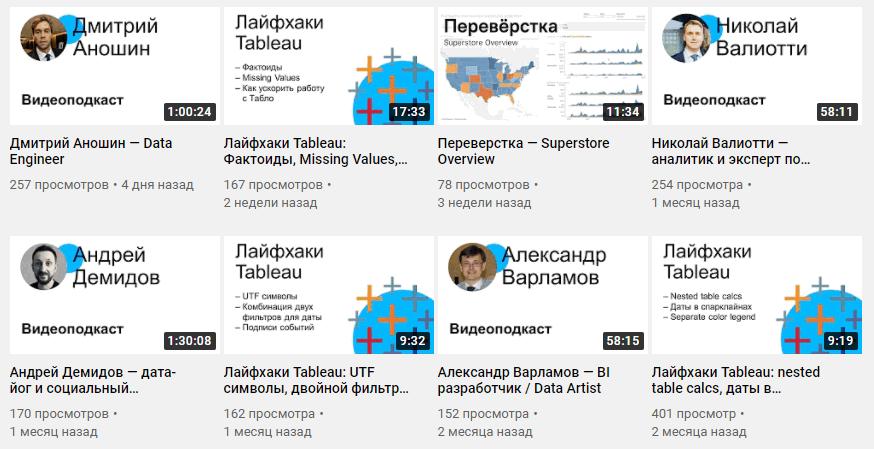 Ютуб канал Ромы Бунина RevealTheData с советами по работе в Табло.